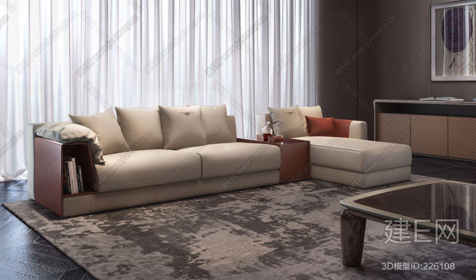 意大利宾利Bentley Home现代转角沙发ID:226108