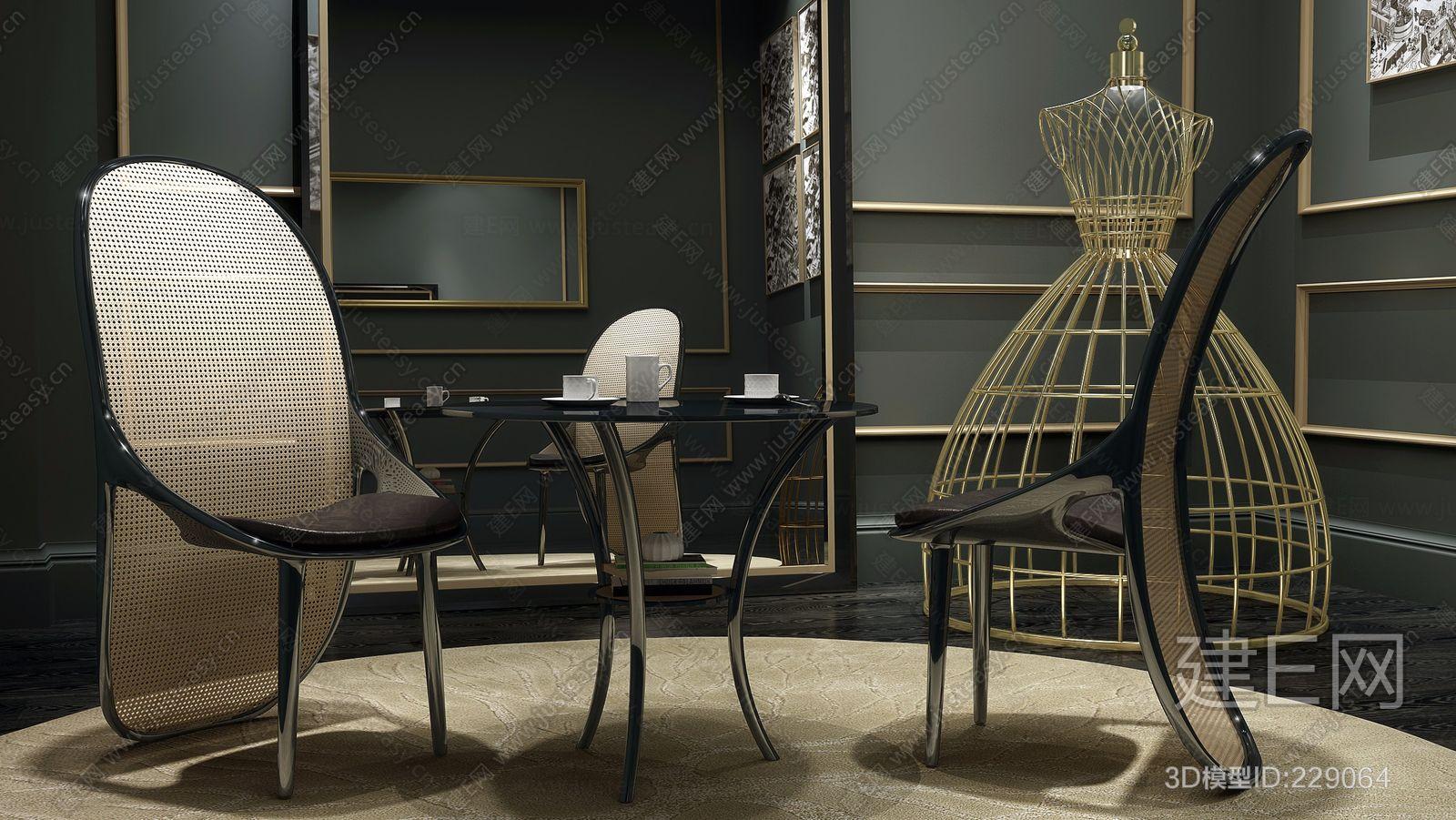 英国宾利Bentley Home现代桌椅组合ID:229064