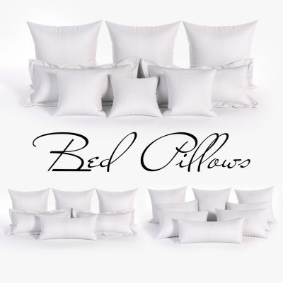 White Bed Pillows 01 (3 sets, 22 different Pillows) 3D Model 1