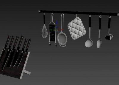 Kitchen full accessories free 3D model 12