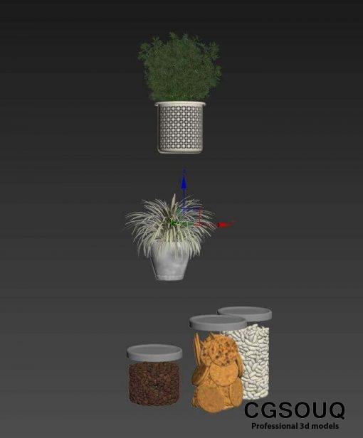 Kitchen full accessories free 3D model 14