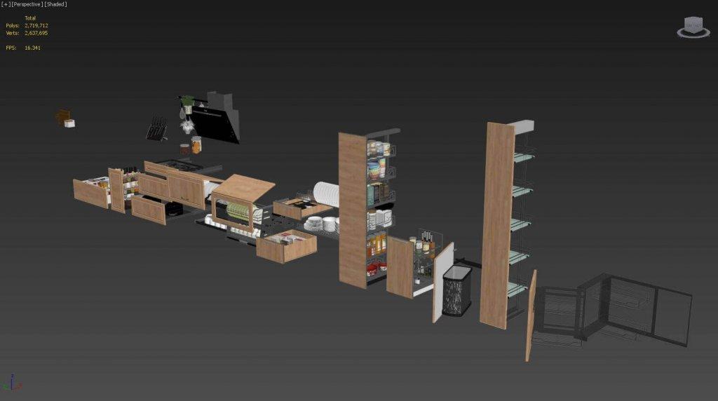 Kitchen full accessories free 3D model 16