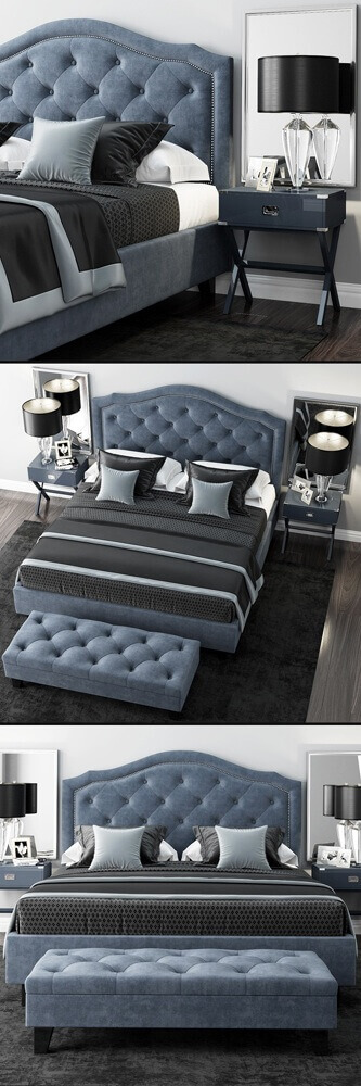 LuXeo Brentwood Queen Tufted bed 2