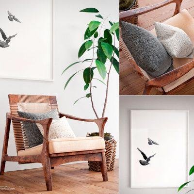 Scandinavian Corner Armchair 3D Model