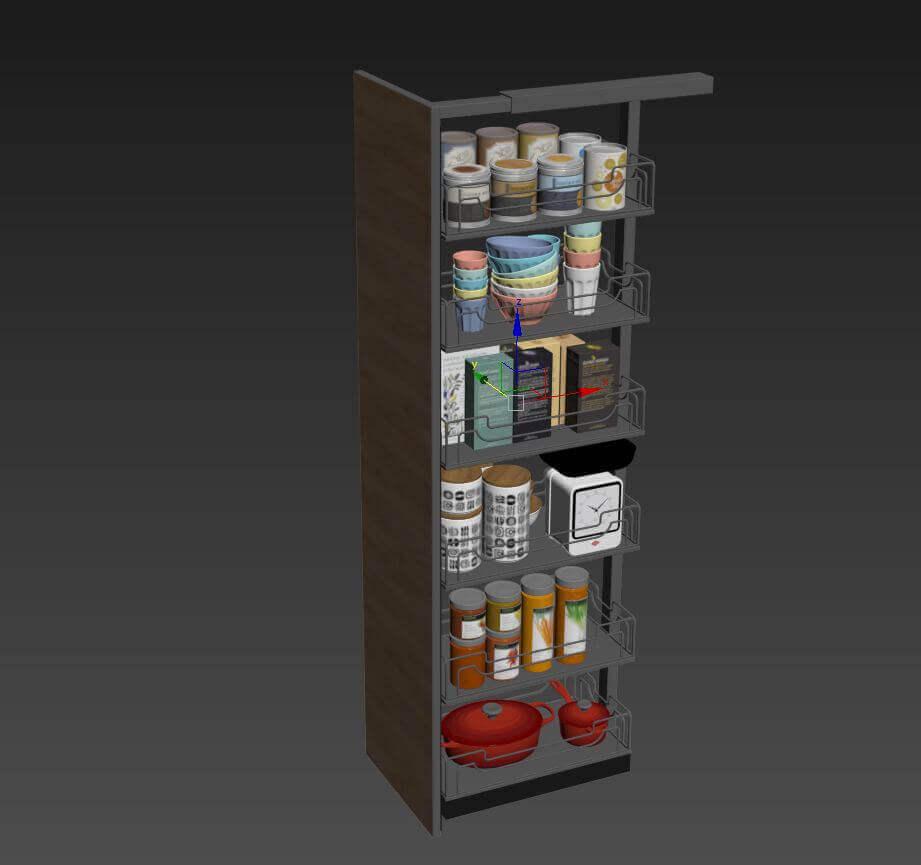 Kitchen full accessories free 3D model 8