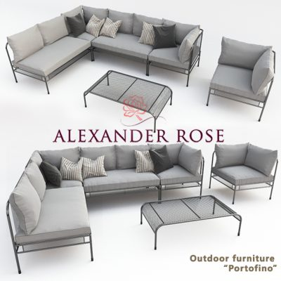 Alexander Rose Portofino Sofa Set 3D Model