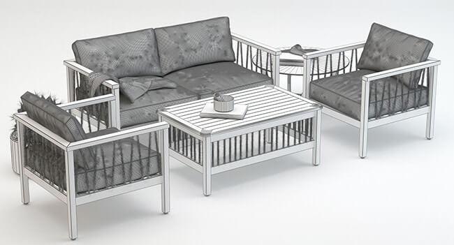 Altinci Cadde Serenity Garden Sofa Set 3D model 4