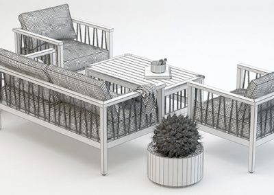 Altinci Cadde Serenity Garden Sofa Set 3D model 5