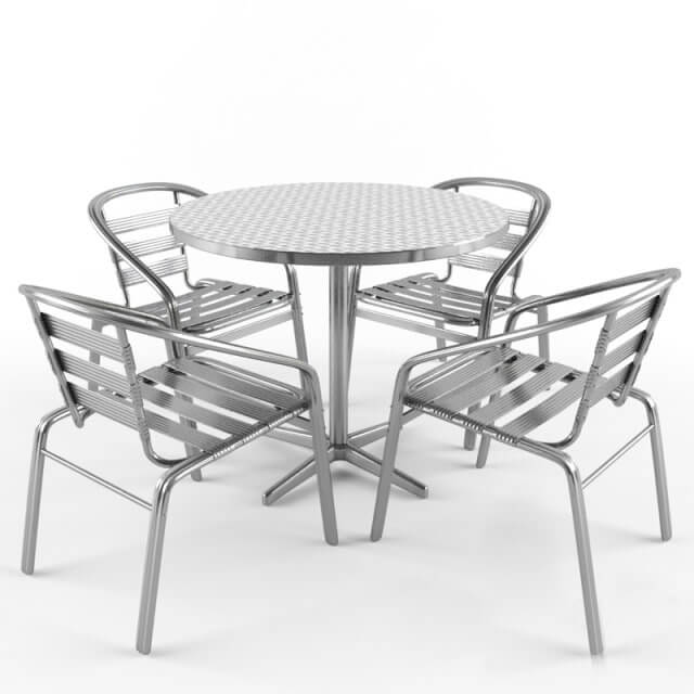 Free Tables And Chairs: Aluminum Table And Chair 3D Model For Download
