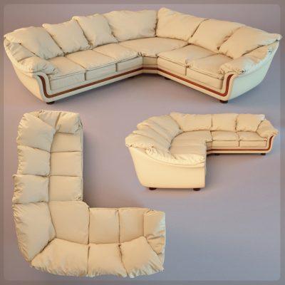 Angular Corner Sofa 3D Model