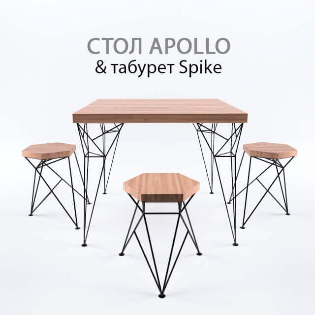 Apollo and Spike from The Uniquely Chair Table 3D Model