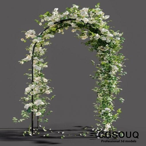 Arch pergola with roses 3D model (1)