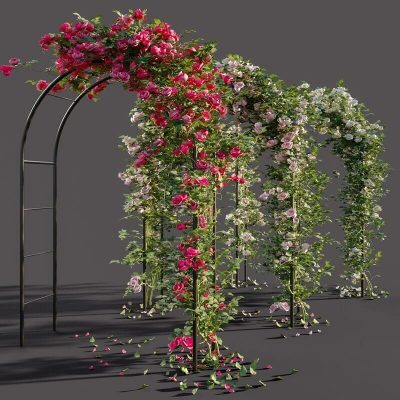Arch pergola with roses 3D model