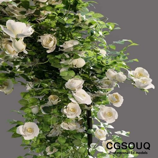 Arch pergola with roses 3D model (5)