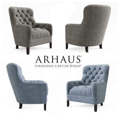 "Arhaus_Club 34"" Tufted Upholstered Armchair 3D Model"