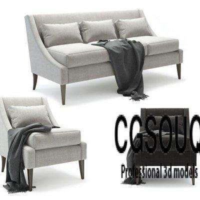 Armchair with Sofa 3d model
