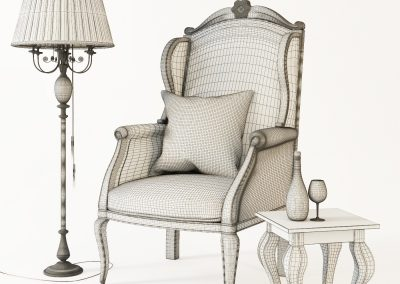 Armchair with decor 3 wireframe
