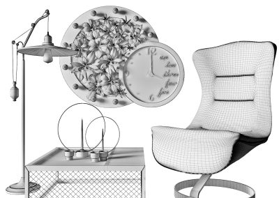 Armchair with decor 6 wireframe