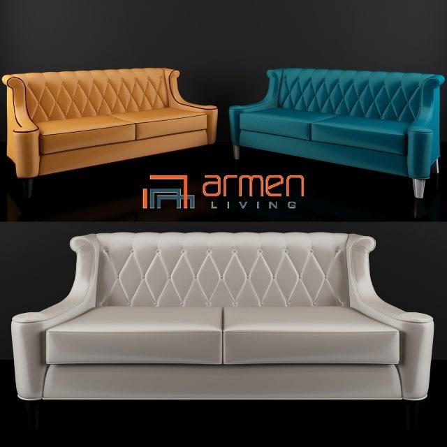 Armen Living Barrister Velvet Sofa 3D Model