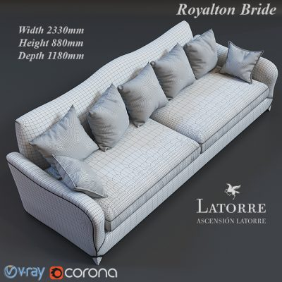 Ascension Latorre Royalton Bride Sofa 3D Model