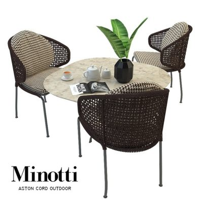 Aston cord outdoor chair table claydon Minotti 3D model 1