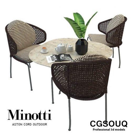 Aston cord outdoor chair table claydon Minotti 3D model 1
