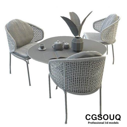 Aston cord outdoor chair table claydon Minotti 3D model 3