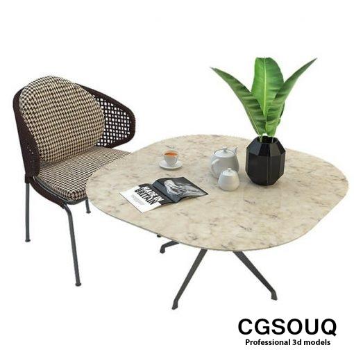 Aston cord outdoor chair table claydon Minotti 3D model 5 (2)