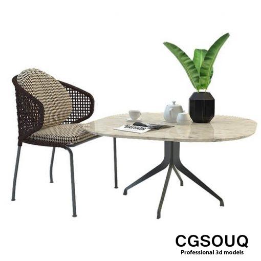 Aston cord outdoor chair table claydon Minotti 3D model 5