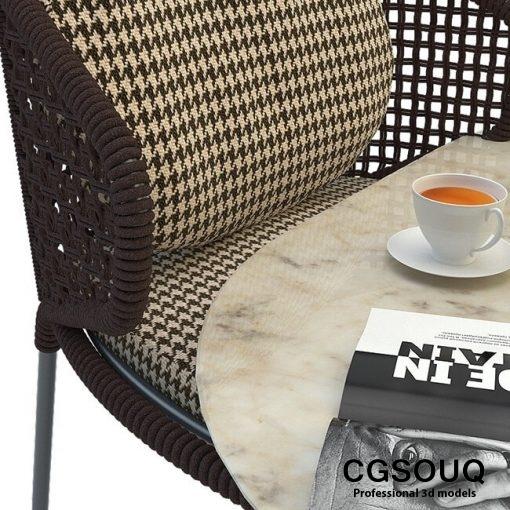 Aston cord outdoor chair table claydon Minotti 3D model 6