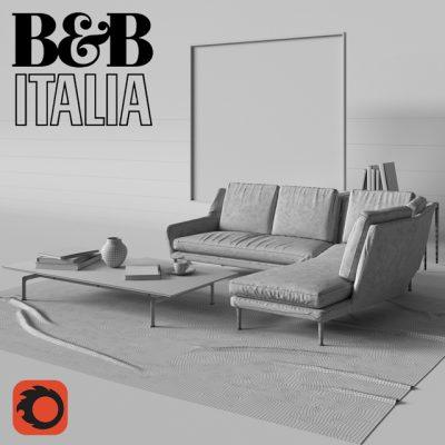 B & B Italia Charles Sofa 3D Model 3
