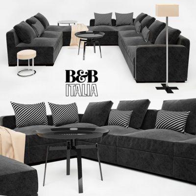 B&B Italia Dives Solatium Black Sofa Set 3D Model