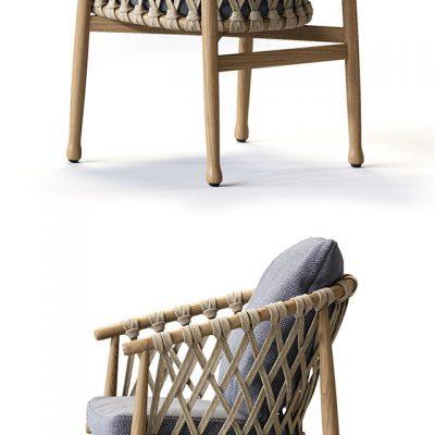 B&B Italia Ginestra Rectangular Table & Chair 3D Model