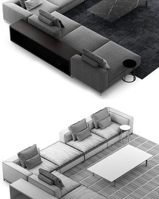 B&B Italia Michel Club Composition Sofa 3D Model 3