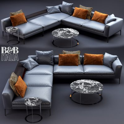 B&B Italia Michel Leather Sofa 3D Model