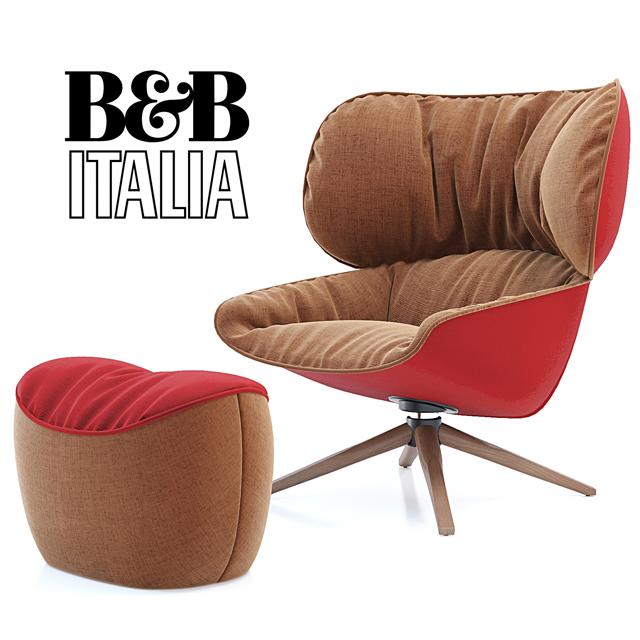 B&B Italia Tabano Chair 3D Model 2