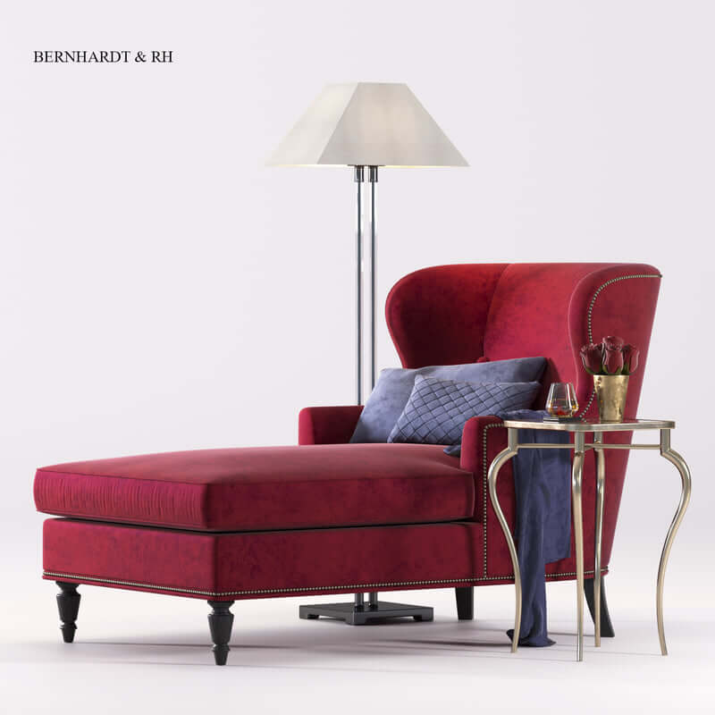 BERNHARDT Nadine Chaise & RH lamp 1