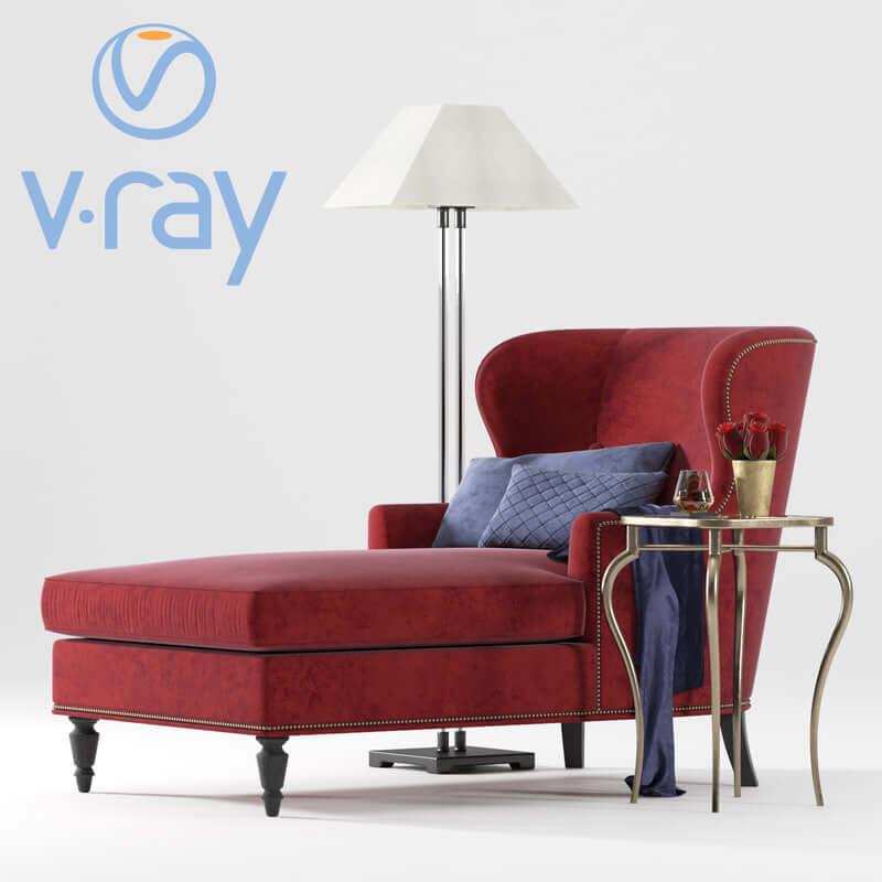 BERNHARDT Nadine Chaise & RH lamp armchair 3D model