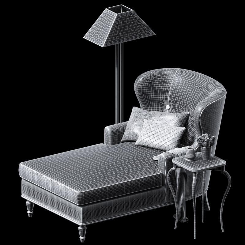 BERNHARDT Nadine Chaise & RH lamp 5