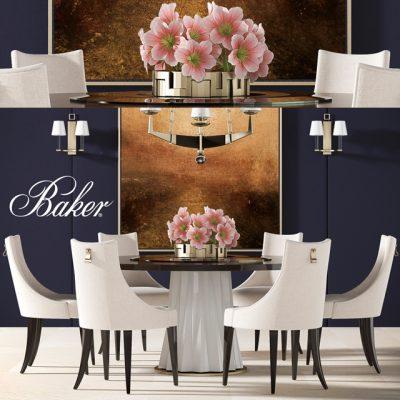 Baker Dining Table & Chair Set-02 3D Model