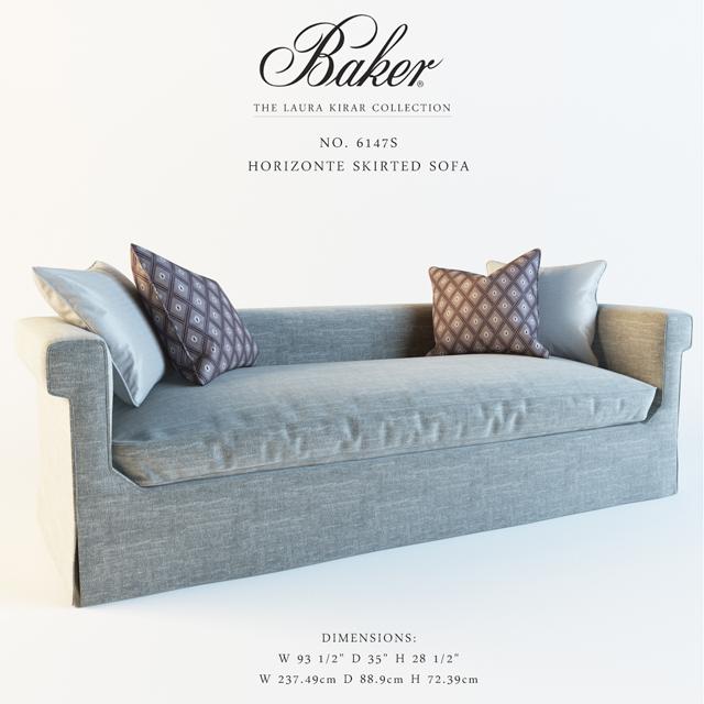 Baker Horizonted Skirted Sofa 3D Model