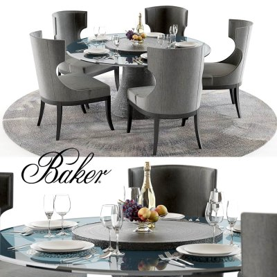 Baker Katoucha and Marat Table Chair set 3D model