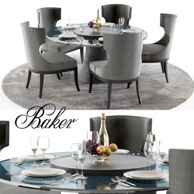 Baker Katoucha and Marat Table Chair set 3D model