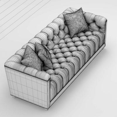 Baker Paris Loveseat Sofa 3D Model