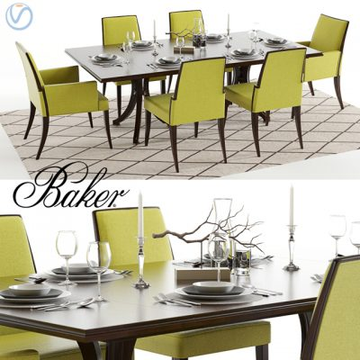 Baker Vienna Abrazo Table & Chair 3D Model