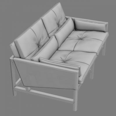 BassamFellows Low Back Sette Sofa 3D Model