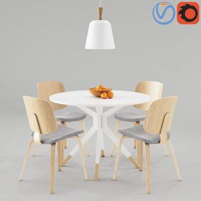 BoConcept Aarhus and Billund Table & Chair 3D Model