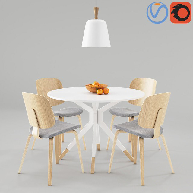 BoConcept Aarhus and Billund Table & Chair 3D Model