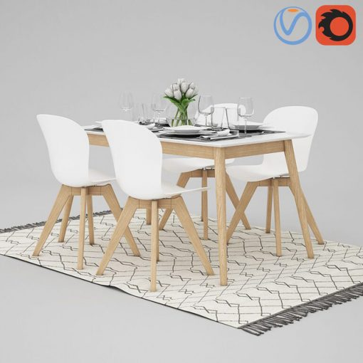 BoConcept Adelaide and Milano Table & Chair 3D Model