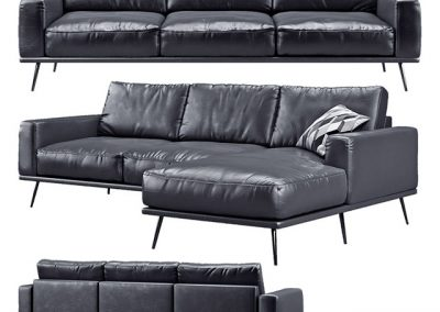 BoConcept Carlton Black Sofa 3D Model 2